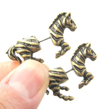 Zebra Horse Animal Shaped Fake Gauge Plugs Stud Earrings in Brass