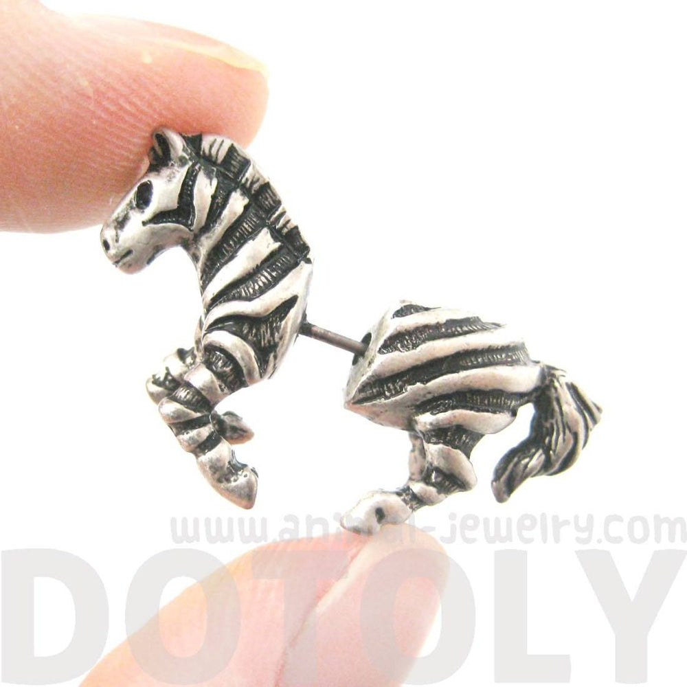 Zebra Horse Animal Shaped Fake Gauge Plugs Stud Earrings in Silver