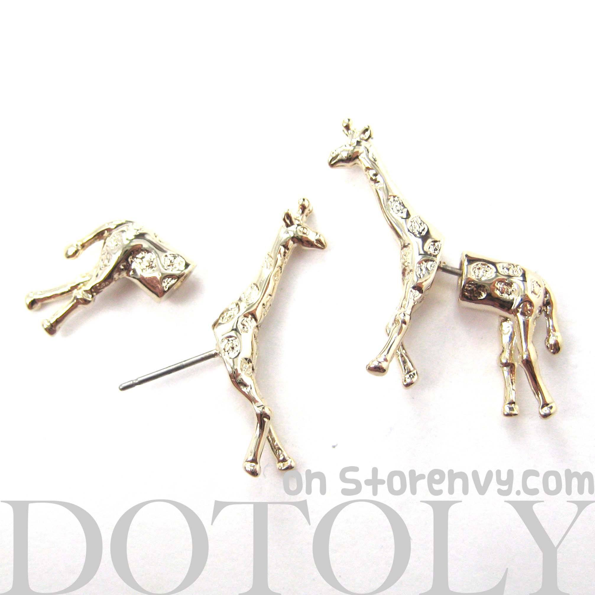 Fake Gauge Earrings: Realistic Giraffe Shaped Animal Faux Plug Stud Earrings in Shiny Gold