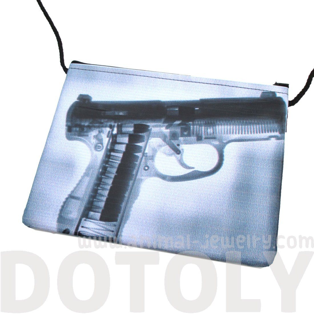 Fake X-Ray Loaded Revolver Gun Print Rectangular Shaped Cross Body Bag