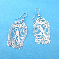 Fancy Birdcage Filigree Shaped Cut Out Dangle Earrings in Silver