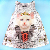 Fancy Cat with Crown and Victorian Dress All Over Print Tank Top