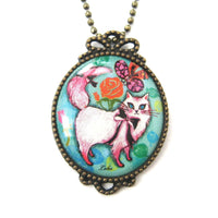 Kitty Cat Shaped Animal Illustration Oval Pendant Necklace in Blue