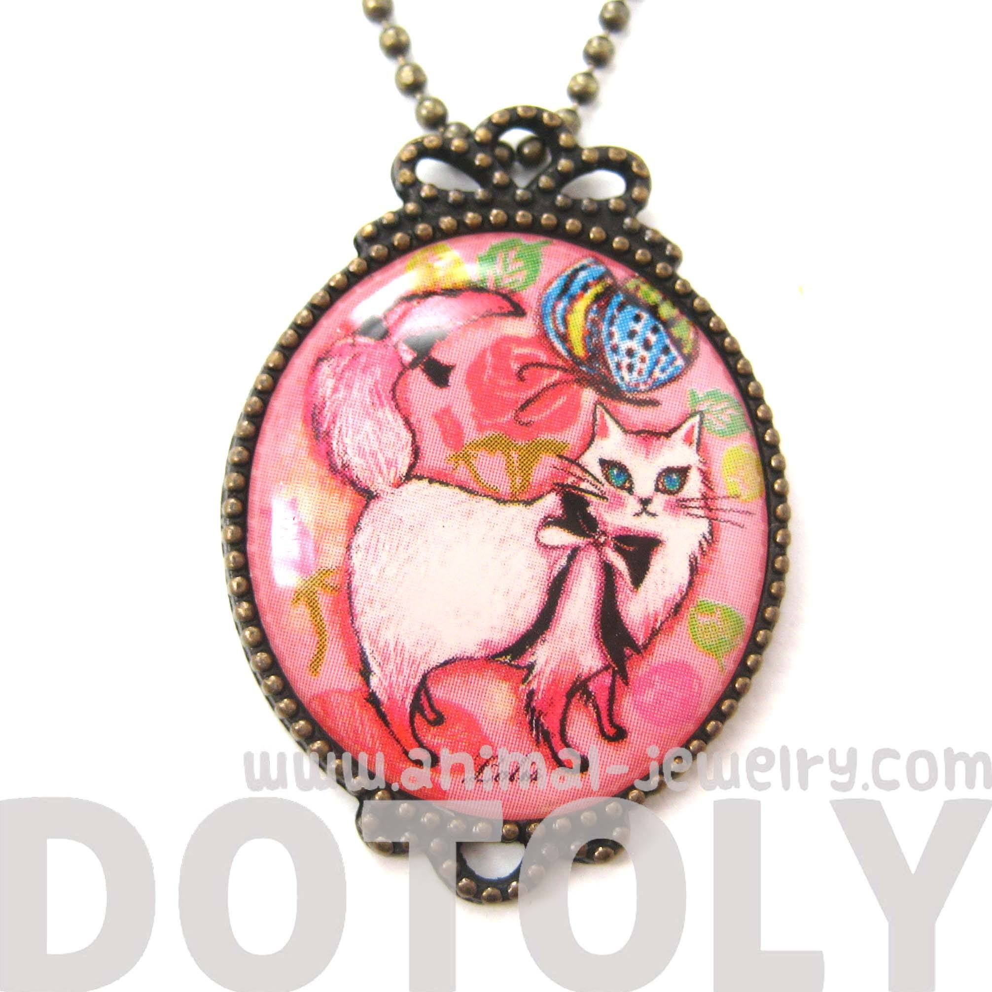 Kitty Cat Shaped Animal Illustration Oval Pendant Necklace in Pink