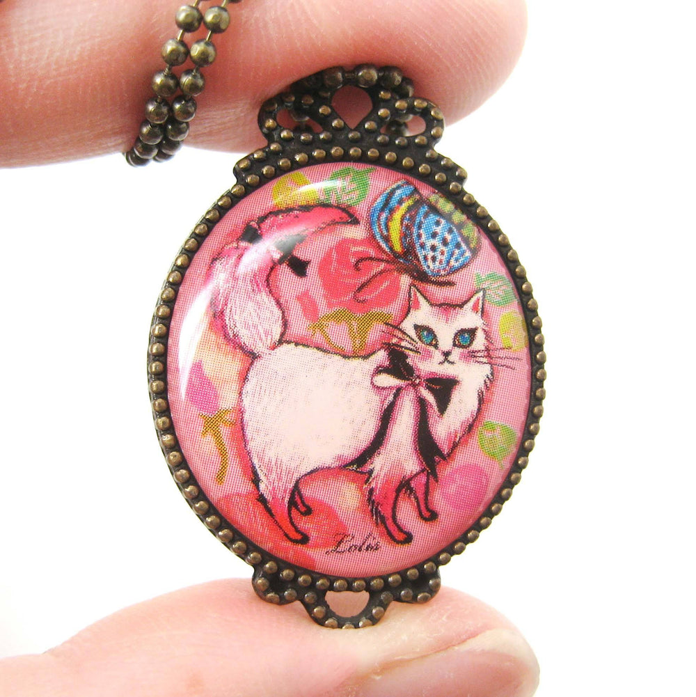Fancy Kitty Cat Shaped Animal Illustration Oval Pendant Necklace in Pink | DOTOLY | DOTOLY