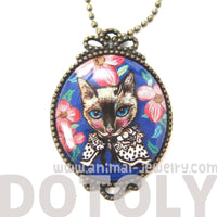 Fancy Kitty Cat Shaped Illustrated Oval Pendant Necklace in Blue