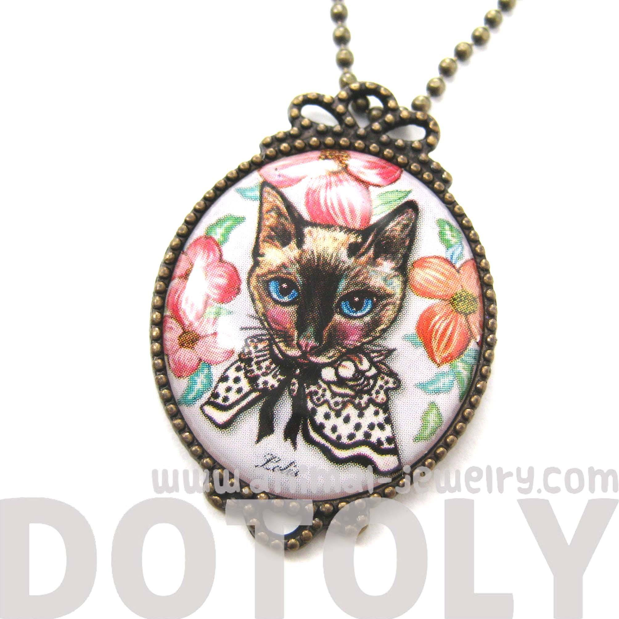 Fancy Kitty Cat Shaped Illustrated Oval Pendant Necklace in White