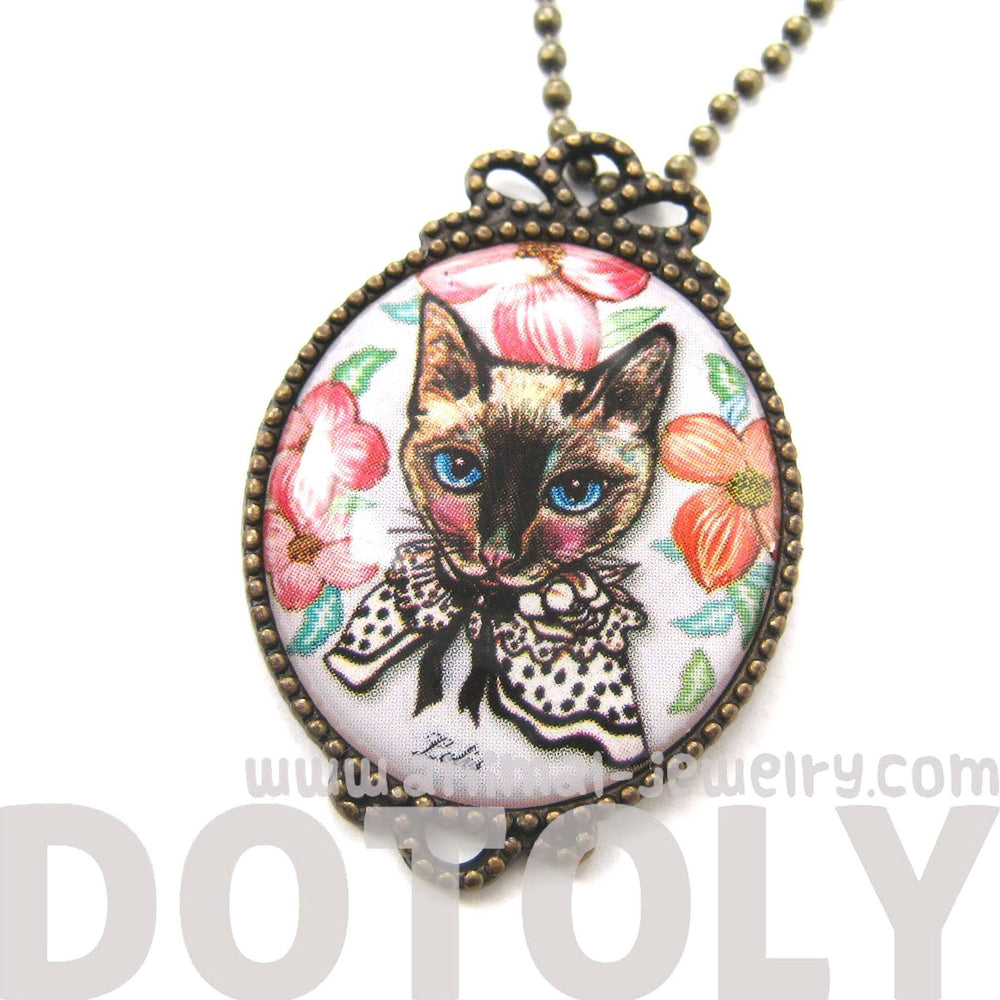 Fancy Kitty Cat Shaped Illustrated Oval Pendant Necklace in White with Roses | DOTOLY