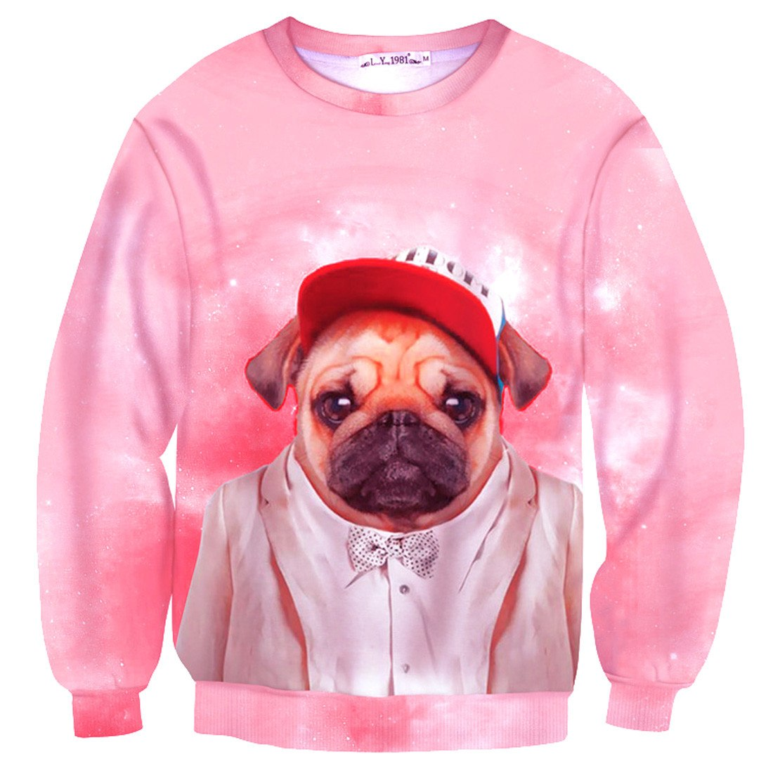 Fancy Pug Puppy Animal Dog Portrait Print Sweater