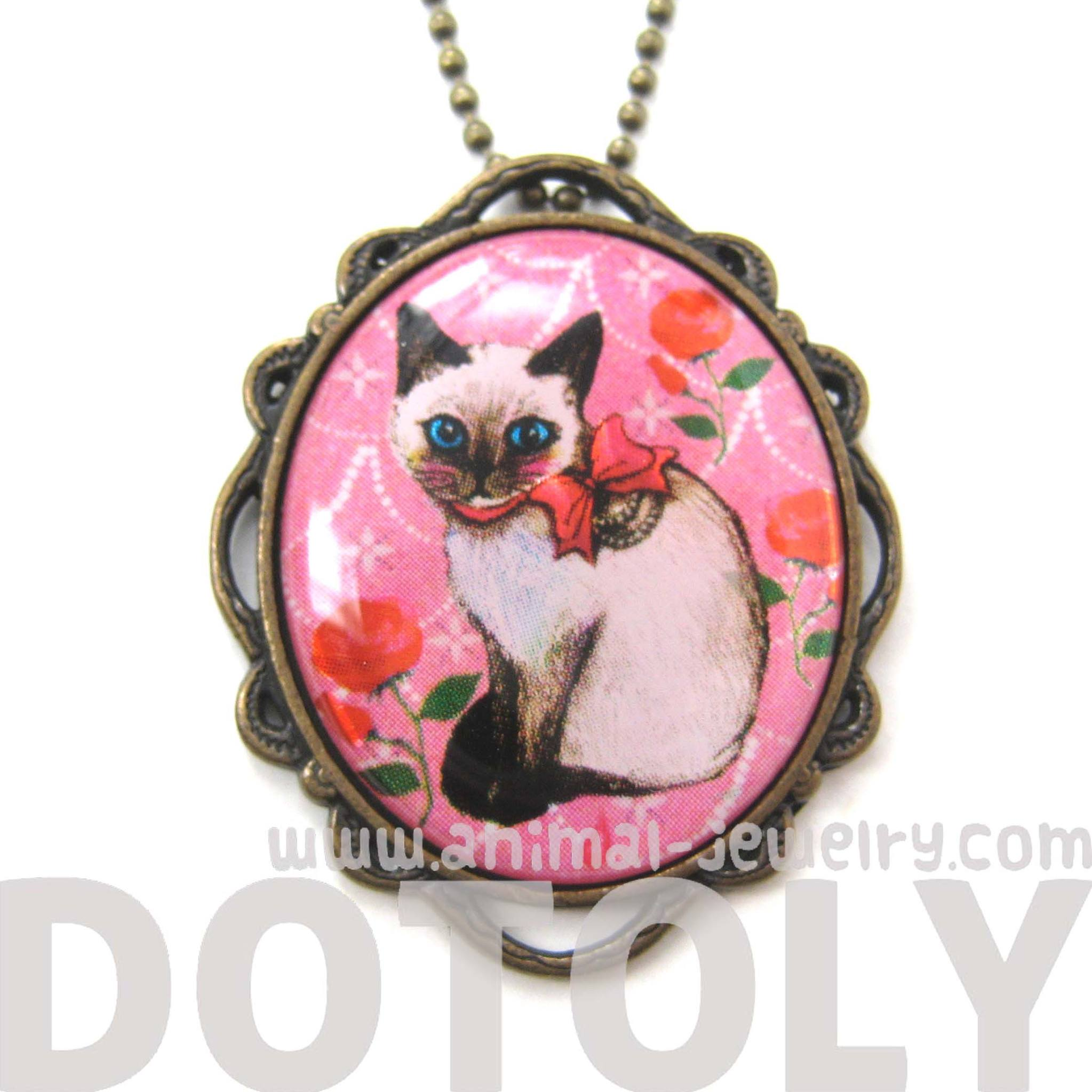 Siamese Kitty Cat Shaped Illustrated Oval Pendant Necklace in Pink