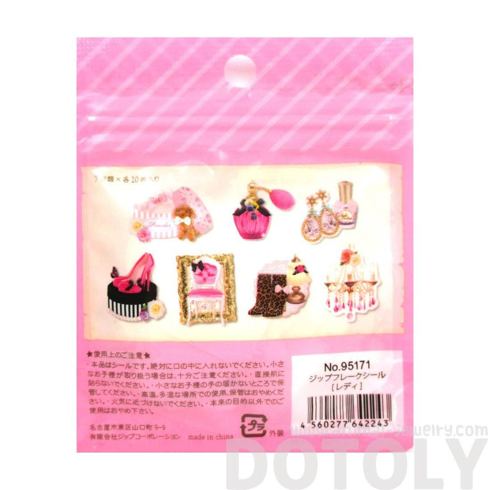 Fashion Themed Heels and Accessories Shaped Sticker Pack From Japan