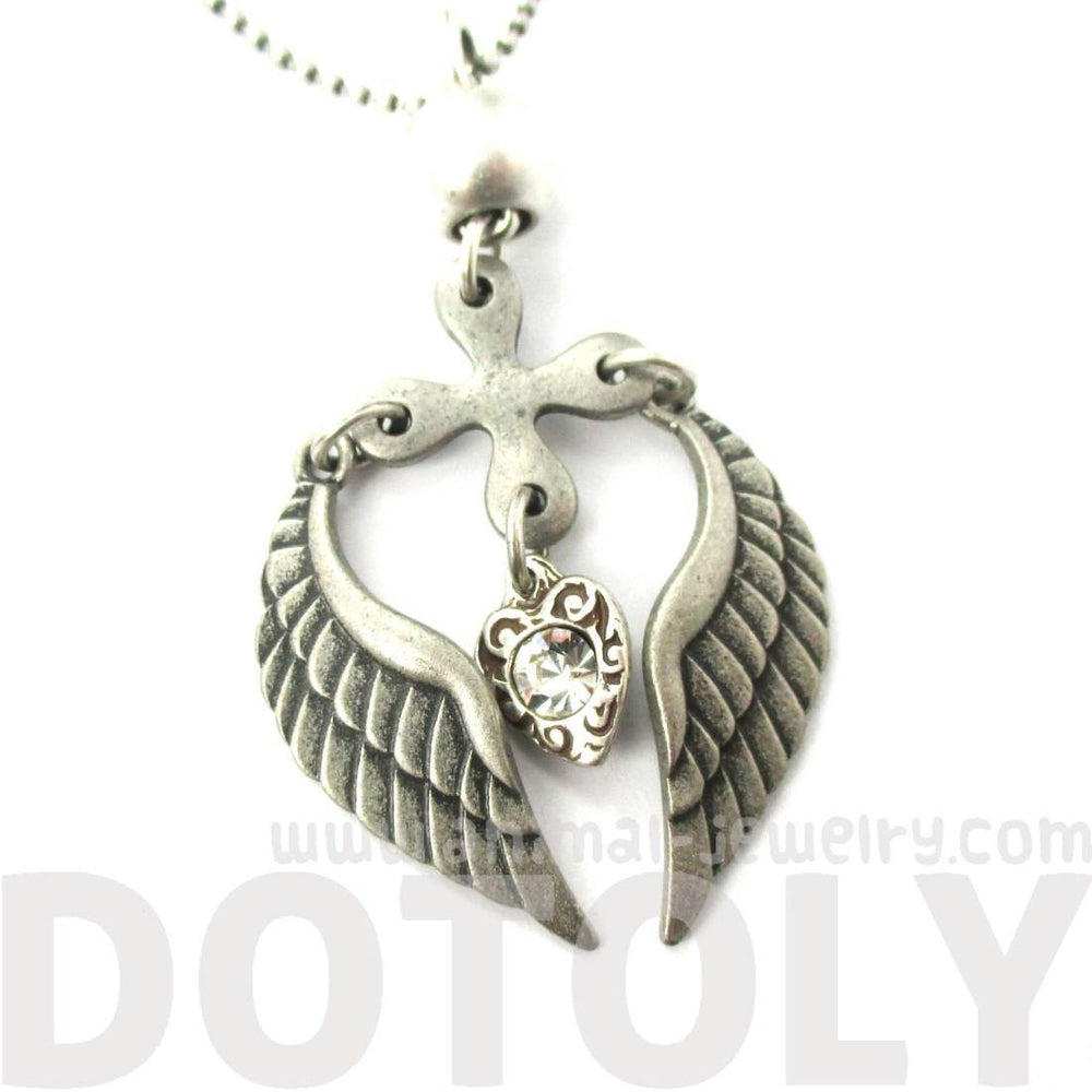Feather Angel Wings and Heart Shaped Pendant Necklace in Silver