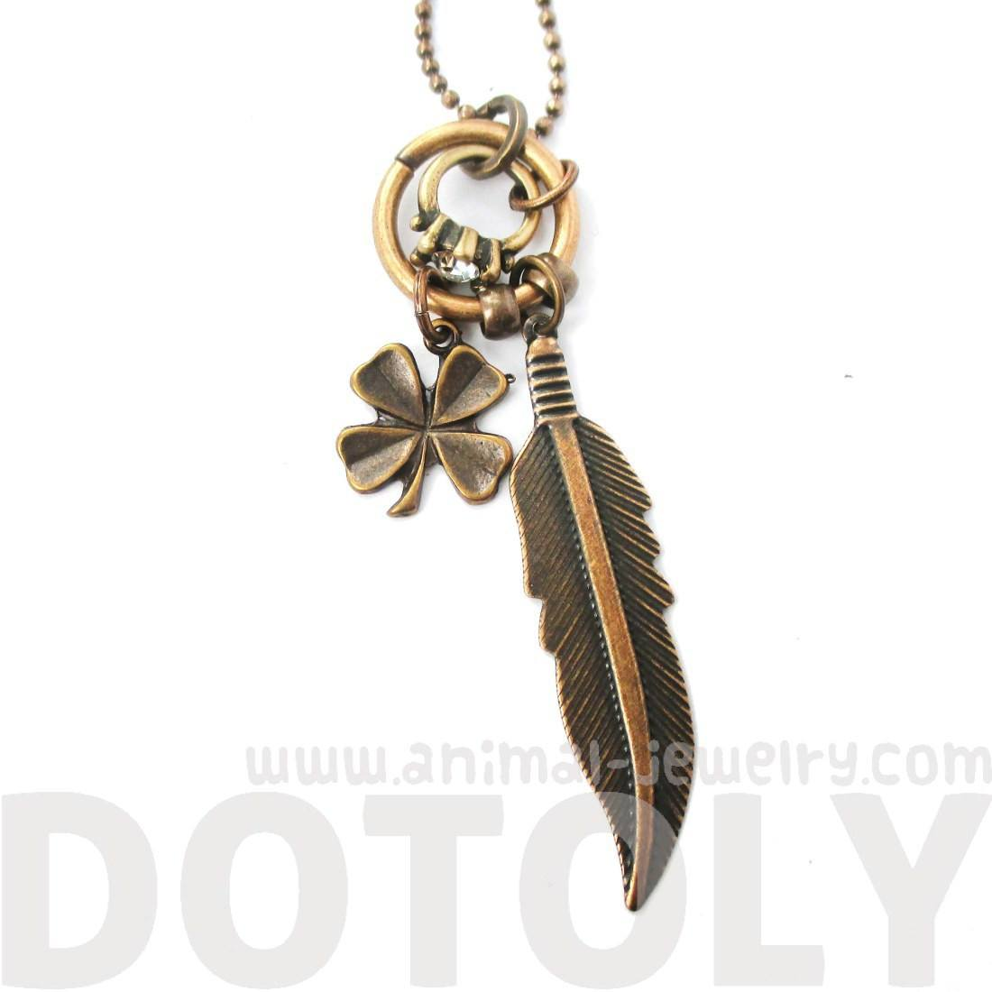 Feather Four Leaf Clover and Diamond Ring Shaped Charm Necklace