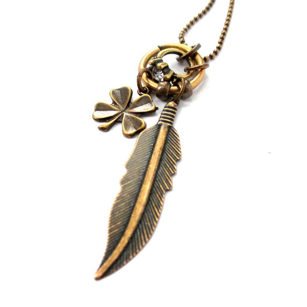 Feather Four Leaf Clover and Diamond Ring Shaped Charm Necklace in Brass | DOTOLY | DOTOLY