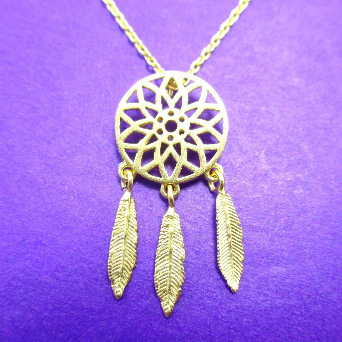 Feathered Dream Catcher Shaped Charm Necklace in Gold