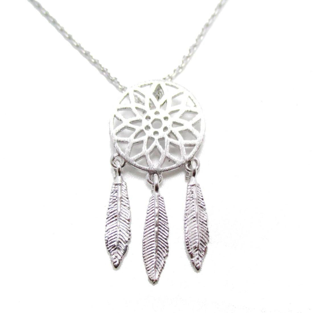Feathered Dream Catcher Shaped Charm Necklace in Silver