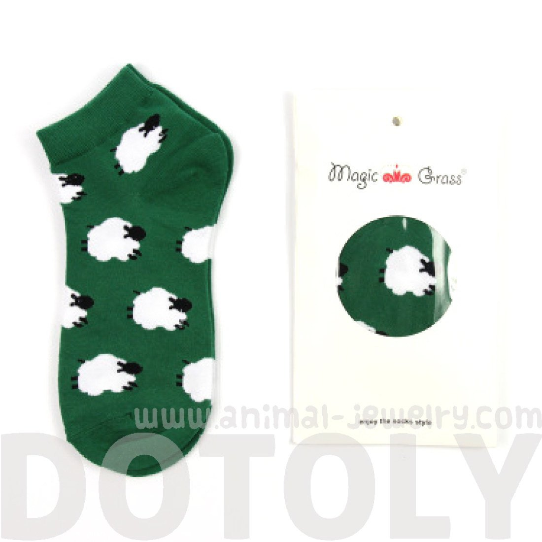 Field of White Sheep Graphic Print Cotton Short Ankle Socks in Green