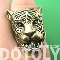Fierce Tiger Lion Shaped Animal Ring in Brass with Animal Print Details | DOTOLY | DOTOLY