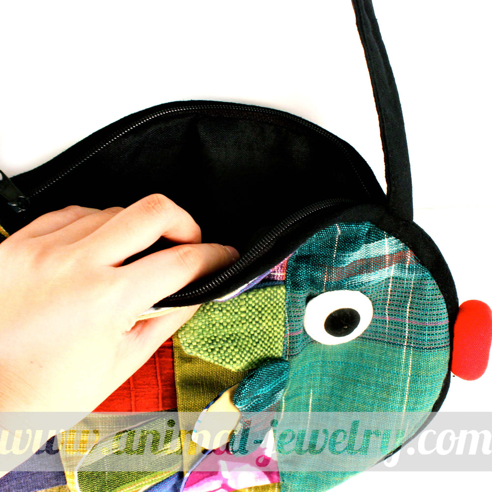 Fish Shaped Animal Cross Body Patchwork Bag in Green | DOTOLY
