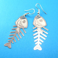 Fishbone Cut Out Shaped Dangle Earrings in Silver | Animal Jewelry
