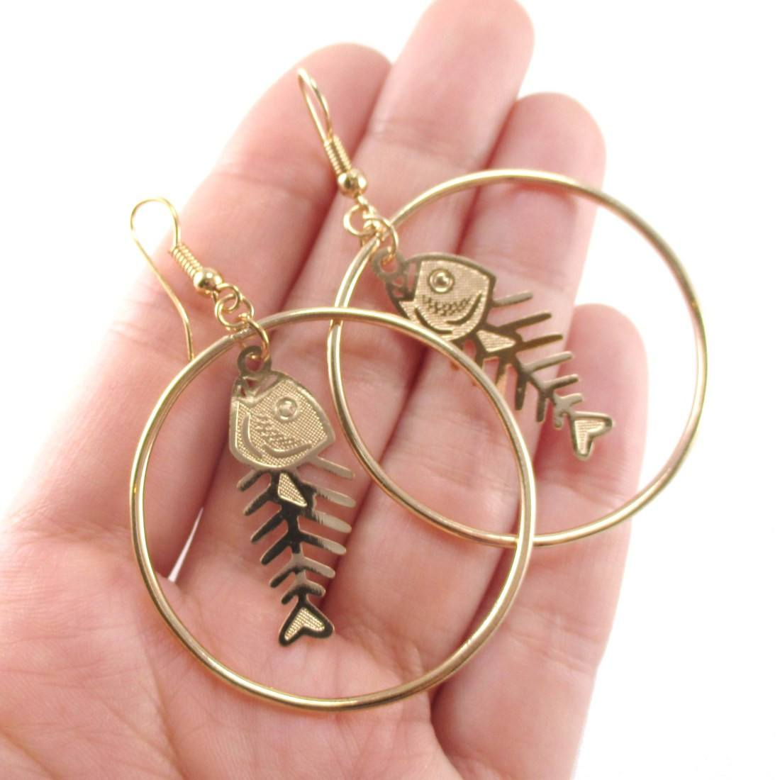 Fishbone Cut Out Shaped Dangle Hoop Earrings in Gold | Animal Jewelry