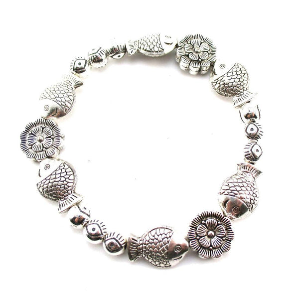 Fishes and Flowers Shaped Beaded Charm Stretch Bracelet