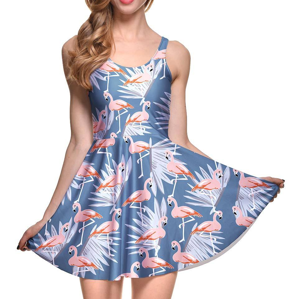 Flamingo and Palm Leaf All Over Print Sleeveless Skater Dress in Blue