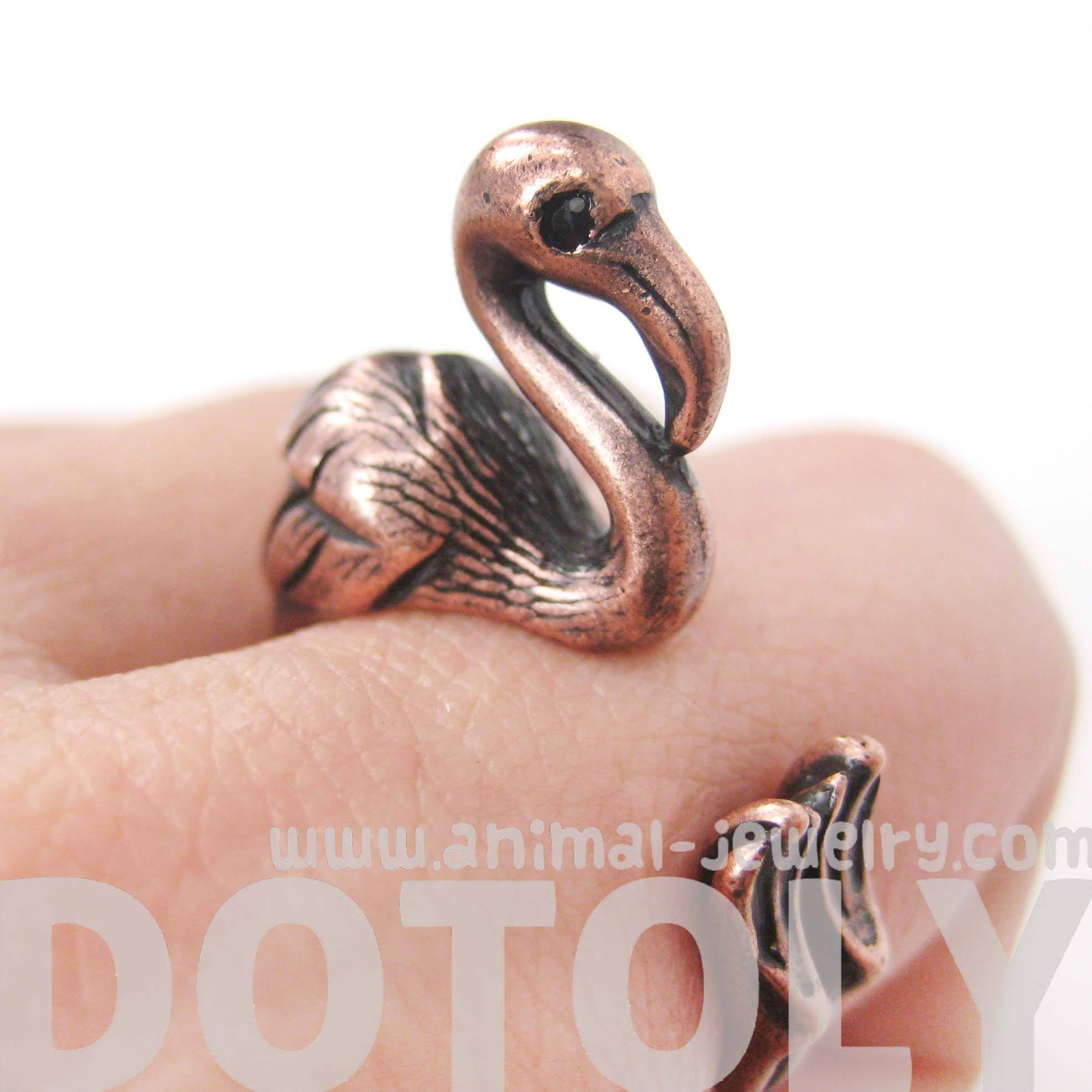Flamingo Bird Shaped Animal Wrap Around Ring in Copper | Sizes 4 to 9