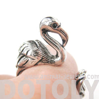 Flamingo Bird Animal Wrap Around Ring in Shiny Silver | Sizes 4 to 9