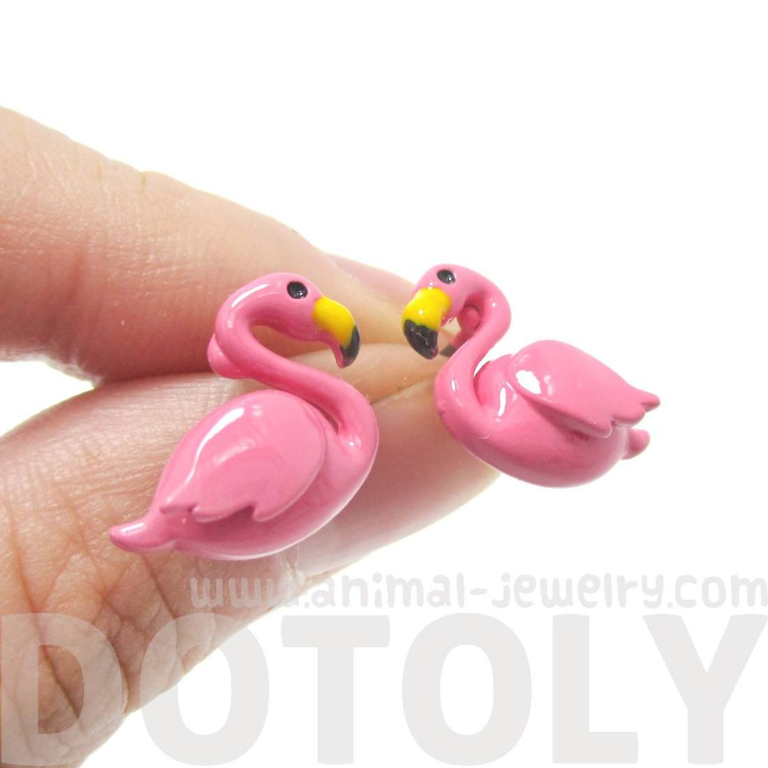 Flamingo Bird Shaped Stud Earrings in Dark Pink