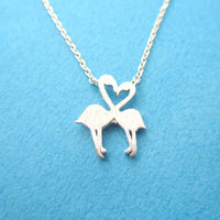 Flamingos Kissing Heart Shaped Charm Necklace in Silver