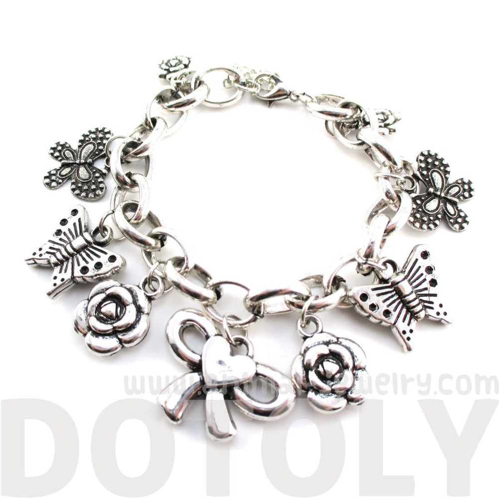 Flowers Butterflies and Bows Charm Bracelet in Silver | DOTOLY | DOTOLY