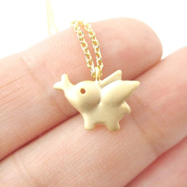 Flying Elephant Shaped Pendant Necklace in Gold | Animal Jewelry