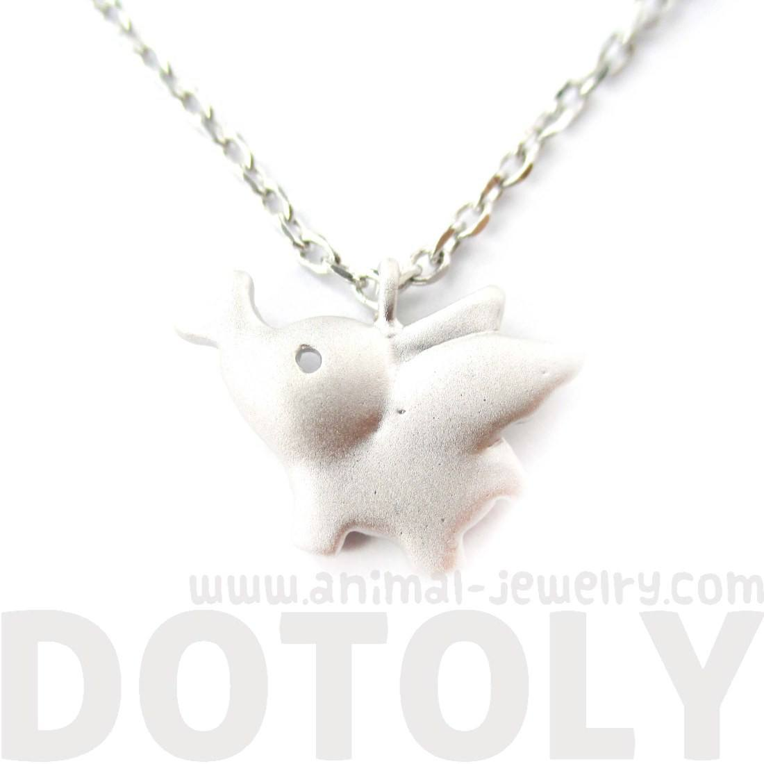 Flying Elephant Shaped Pendant Necklace in Silver | Animal Jewelry