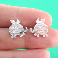 Flying Baby Elephant Shaped Stud Earrings in Silver