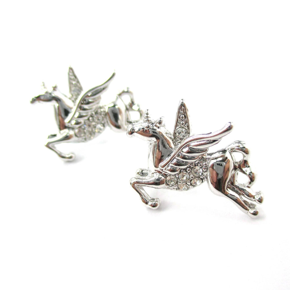 Flying Pegasus Unicorn Shaped Stud Earrings in Silver