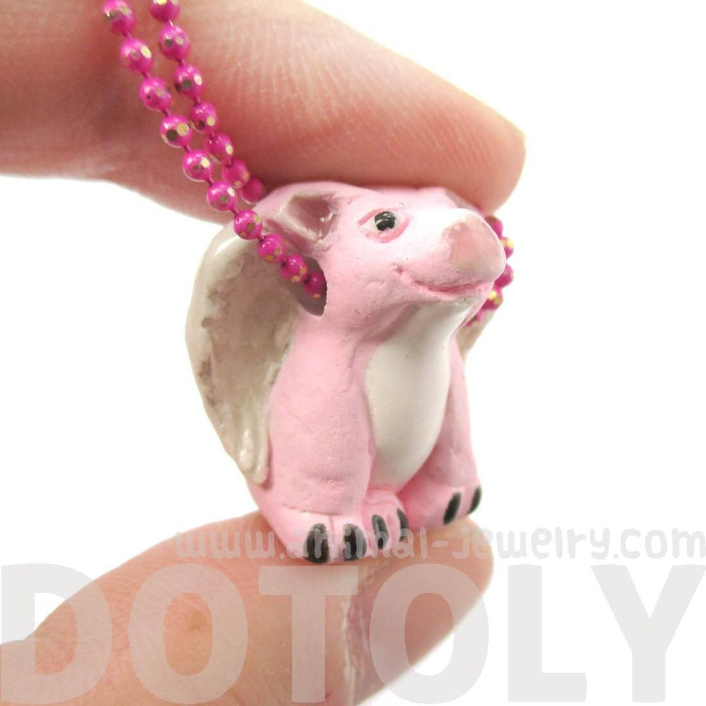 Flying Pig with Wings Shaped Porcelain Ceramic Animal Pendant Necklace