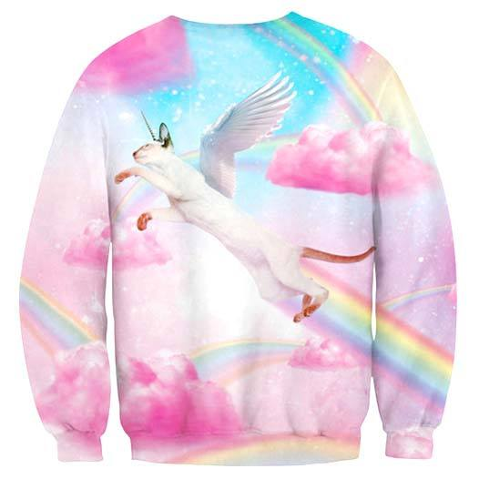 Siamese Unicorn Kitty Cat riding Rainbows Print Sweater