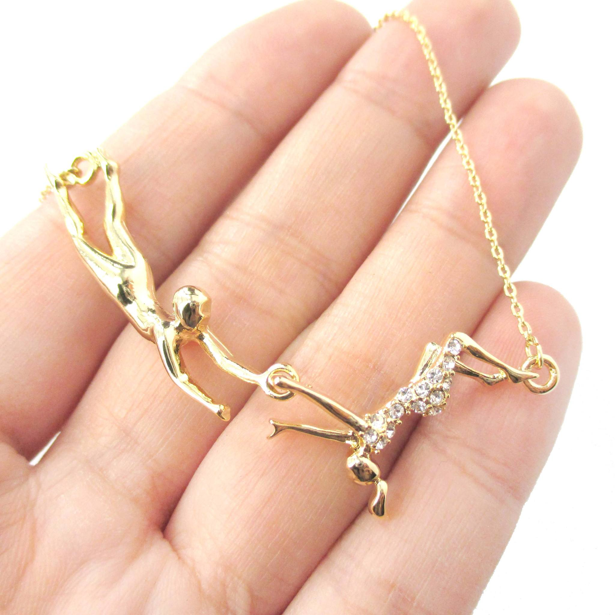 Flying Trapeze Acrobat Gymnastic Themed Necklace in Gold