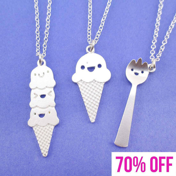 Food Themed Ice Cream and Spork Necklace 3 Piece Set | SALE