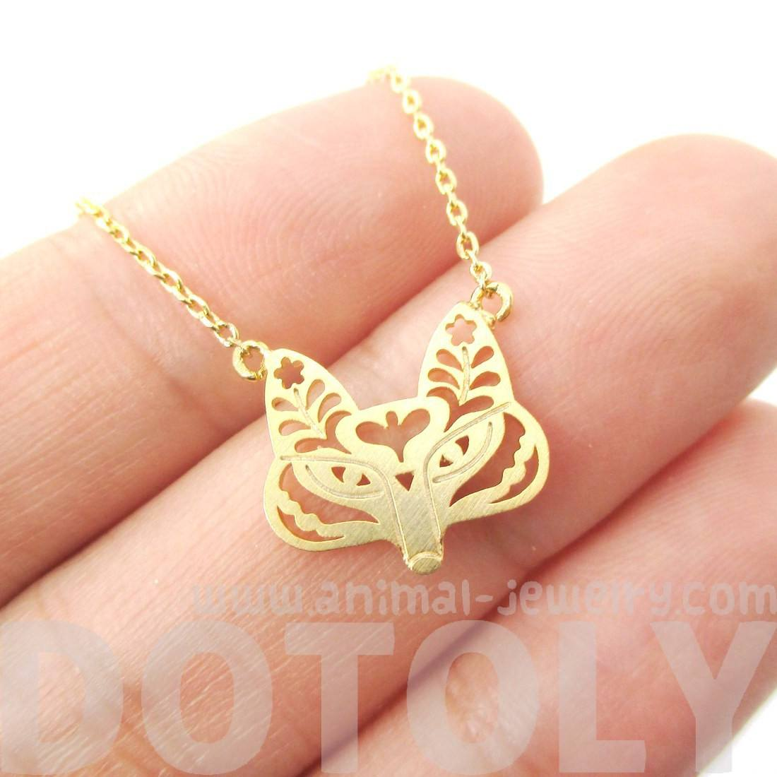 Fox Face Shaped Tribal Floral Cut Out Charm Necklace in Gold | DOTOLY