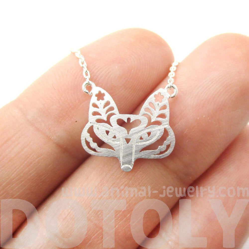 Fox Face Shaped Tribal Floral Cut Out Charm Necklace in Silver