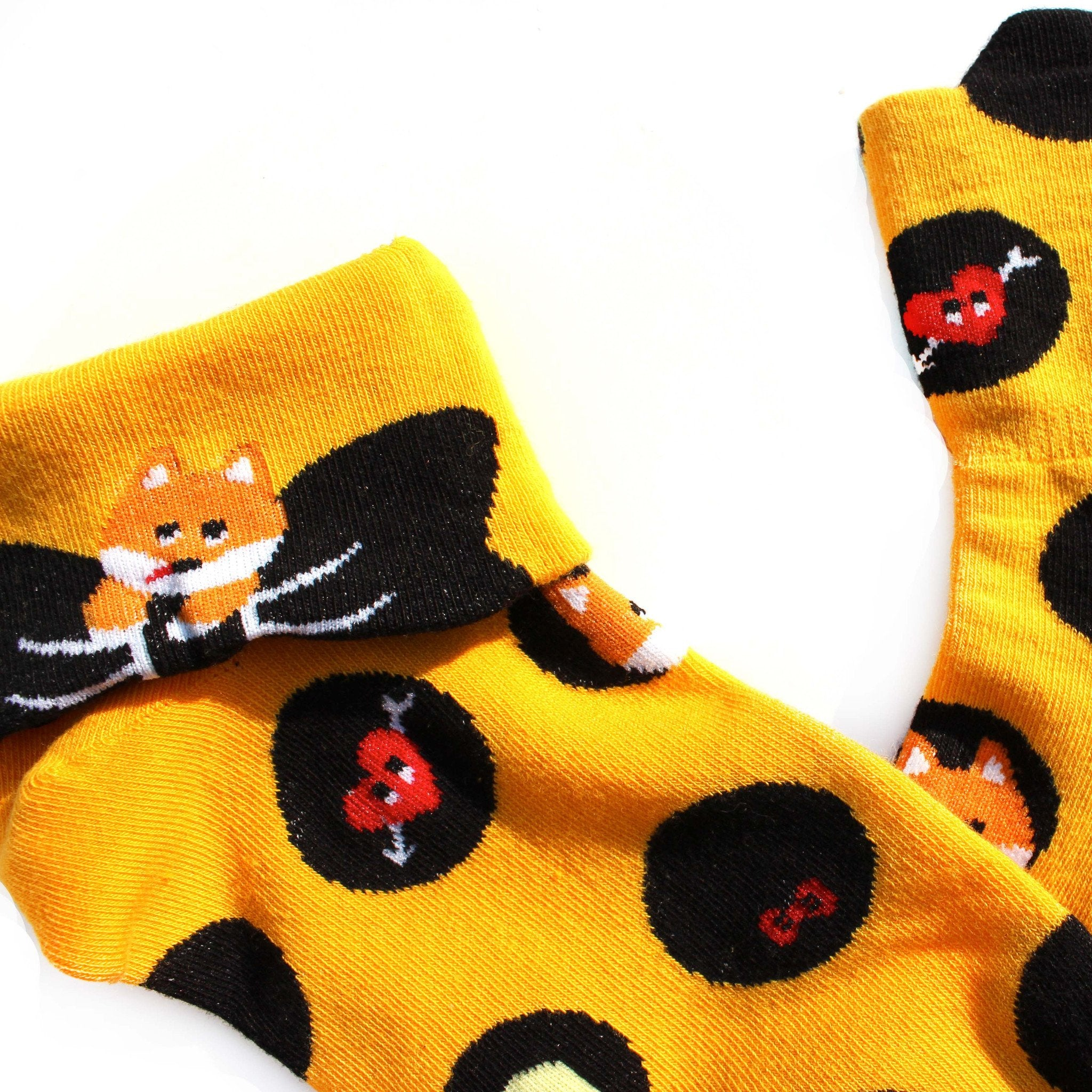 Fox Polka Dot and Bow Tie Animal Graphic Print Cotton Socks for Women