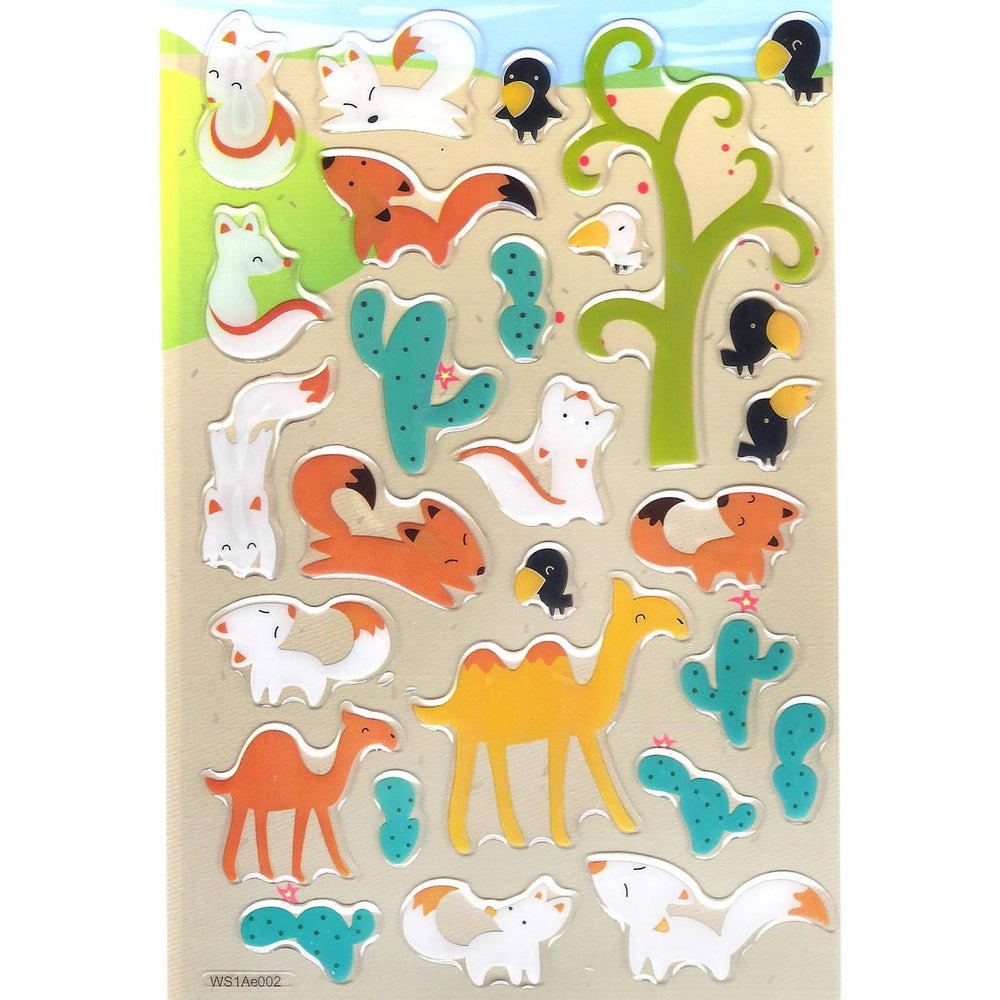 Foxes and Camel Animal Shaped Jelly Puffy Stickers for Scrapbooking