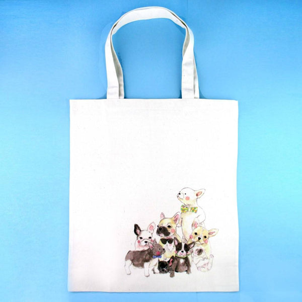 French Bulldog and Boston Terrier Puppies Wearing Bow Ties Canvas Tote Bag