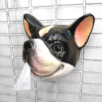 French Bulldog Animal Faux Taxidermy Wall Plaque Tissue Paper Roll Holder | DOTOLY