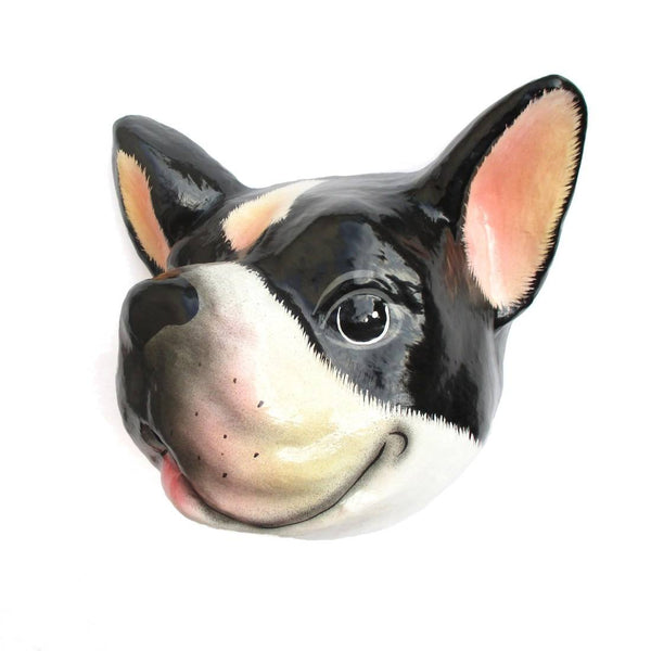 French Bulldog Animal Head Shaped Faux Taxidermy Wall Art Home Decor