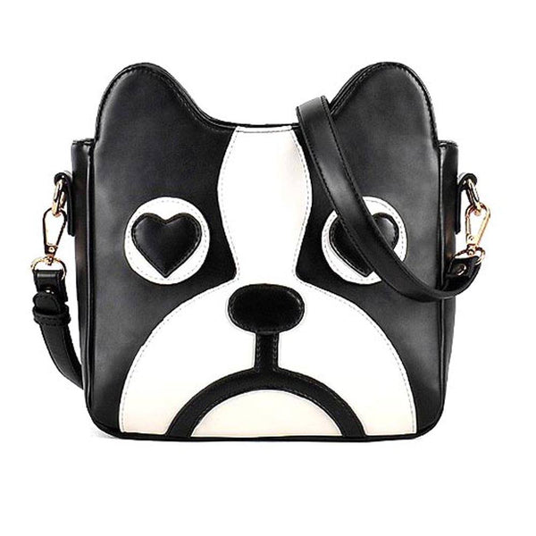 french-bulldog-animal-themed-cross-body-shoulder-bag-for-women-in-black-and-white