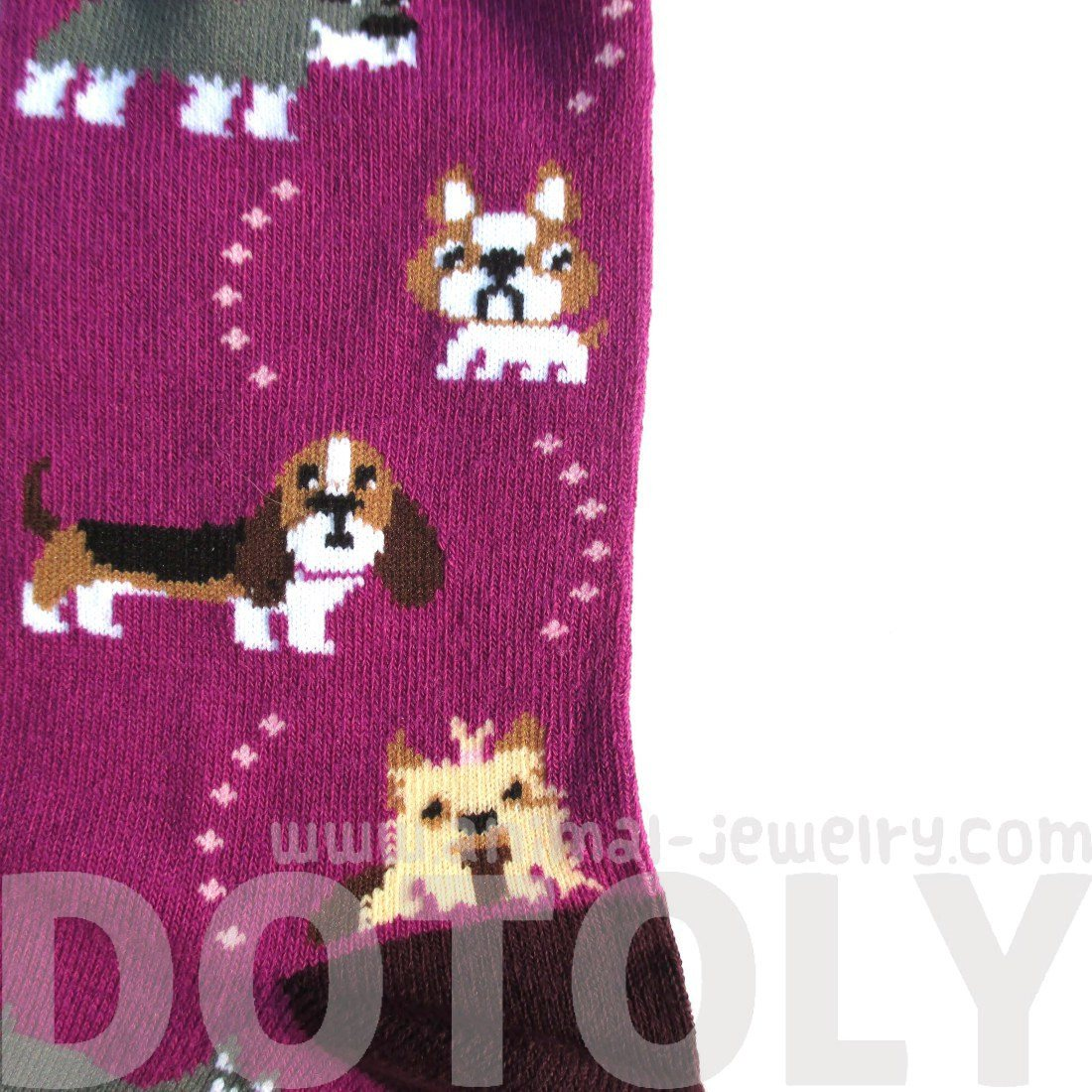 Frenchie Cesky Yorkshire Terrier Basset Hound Dog Print Purple Socks