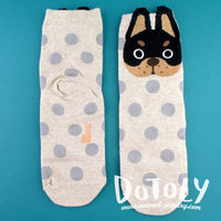 French Bulldog Face and Polka Dotted Patterned Cotton Socks in Khaki